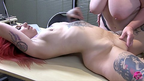 Naked girl on the table finger fucked by our granny in charge Lacey Starr and Tammy Claire
