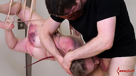 Bruised ass very painful deep throat Rebel Rhyder suspended and restrained cock shoved so far up her throat she is choking and slobbering