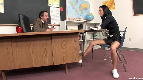 School nubile teen Stephanie Cane has a chat with teacher in clas but he likes to smack her with the ruler at the black board