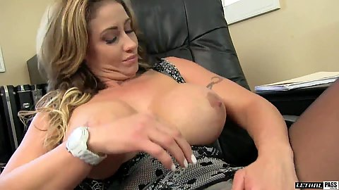Big chested office milf with thick body Eva Notty takes her boobies out of her dress and gives a handjob with oral
