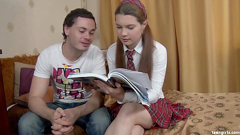 Studying with young school girl Mischa looking to learn something new today