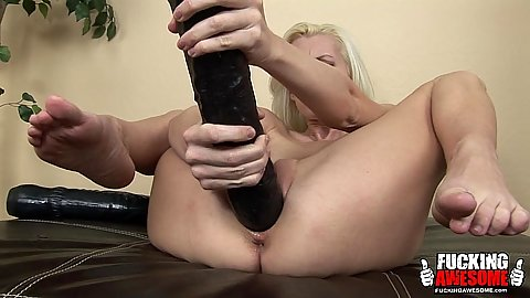 Gigantic dildo self pussy slamming with solo blonde milf Brandi Edwards spread legs and going to down