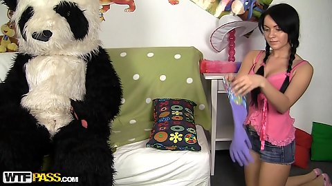 Huge panda costume and a young teen Danaya getting naked in front of him thinking he is not alive