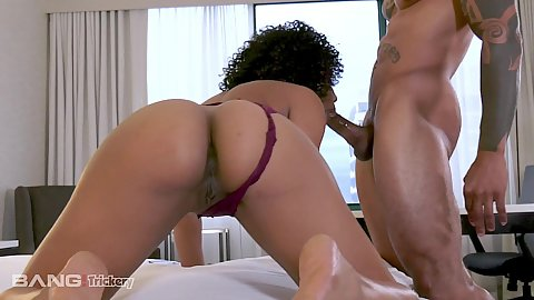 Valet and hotel visitor small boobed black girl Misty Stone fucking her valet in black and ebony hotel bed intercourse