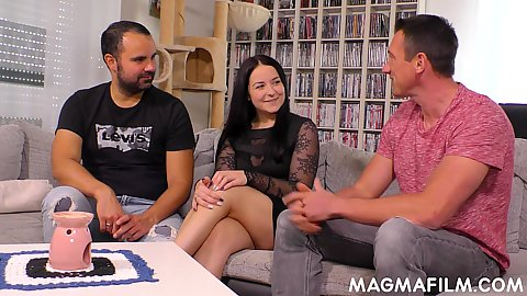 Brunette bursty Emma Secret has a bit of sweet tight secrets to share with two guys