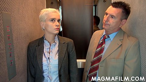 Blonde short haired mifl Mila Milan is the in the elevator gets touched by coworker and jerks off his dick
