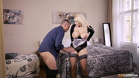 Large boobed delightful milf latina Angel Wicky undressed licked and nailed on bed