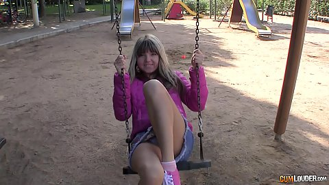Super cute 18 year old young girl Gina Gerson on the playground wearing her miniskirt accidentally giving upskirt flashing of her underwear