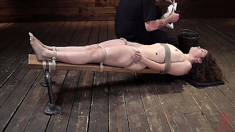 Very well tied to a bench brunette Victoria Voxxx in for extreme brutal torture and torment with water boarding punishment