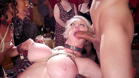 Big boobies hardcore oral deep throat with milf sucking on large black dick while in a collar and tied with rope around big booty Nikki Darling and Dee Williams