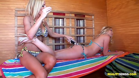 Hot babes Toni and Bree playing in the sauna