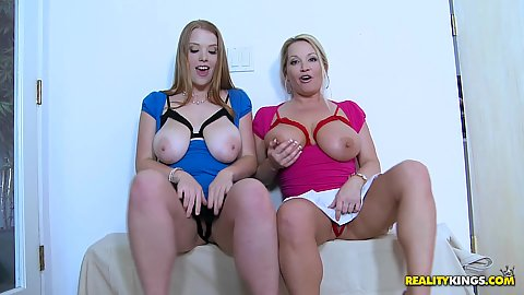 Two babes with big natural tits hanging out