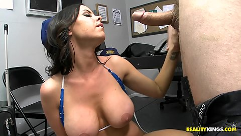 Security fucking busty flight attendant in office