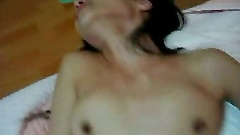 Cute asian babe fucked with hairy pussy
