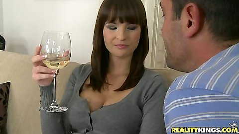 Hot euro babe having a drink in our flat