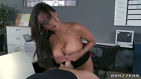 Priya Anjali Rai giving a juicy titty fuck and sitting on cock in office