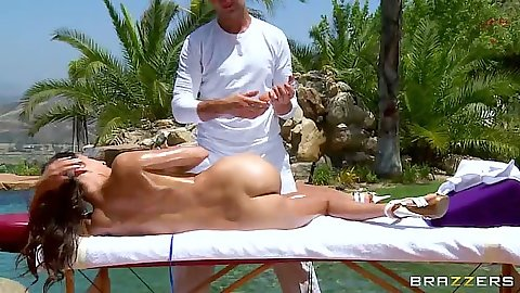 Great oil massage outdoors with April O enjoyin the sun