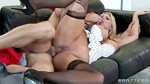 Milf sideways penetration with Karen Fisher moaning on the couch