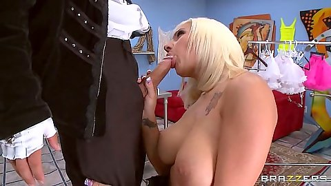 Blonde Lylith Lavey cock sucking large dick from man in suit and titty fuck