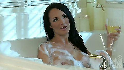 Bath time with Alektra Blue and Kirsten Price lesbian pussy licking in soap