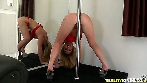 Latina Rafaella rubbing her ass on a stripper pole then sucks some dick