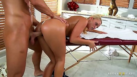 Female masseuse Alexis Monroe gets covered in oil and fucked doggy style