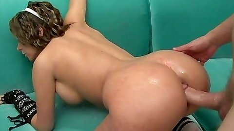 Doggy style anal sex with Kinzie Kenner getting large cock in her anus