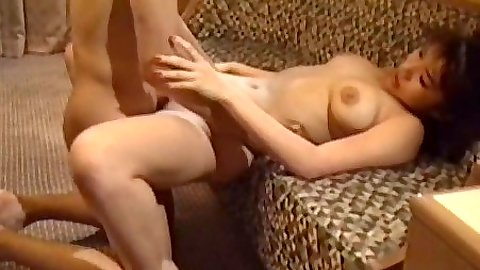 Front penetration with natural tits asian on the floor