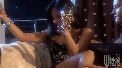 Asian babe Kaylani Lei having a drink sucking dick and ass licked