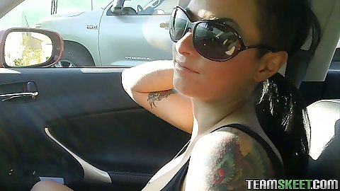 Frontseat fun with Christy Mack going back home for action