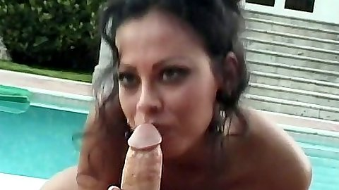 Pov blowjob with latina Olivia Del Rio outdoors by the pool sex