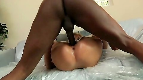Big dick interracial sex with Haley Cummings getting oil and pussy filled