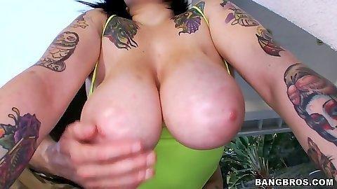 Big tits Christine Rhydes showing those huge melons