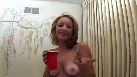 Kelly havin ga drink and licking mans ass