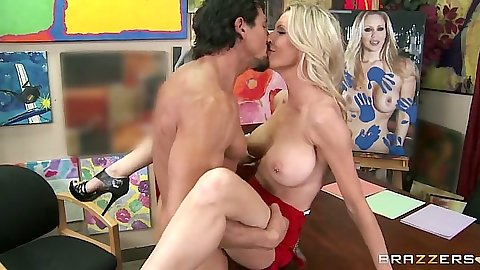 Big tits blonde milf mom Emma Starr hardcore sex on desk