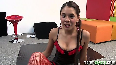 Latina Cici Amor in sexy red lingerie blowjob