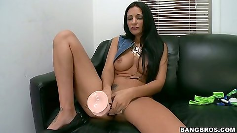 Dildo fucking masturbation during interview and Amber Cox