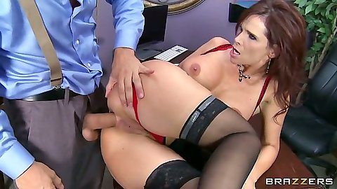 Sideways milf anal fuck on the desk with big tits redhead Syren De Mer