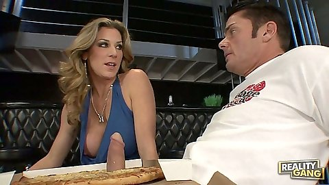 Kayla Page big tits pizza blowjob stuffing it in