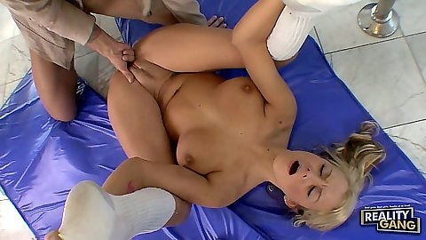 Sexy cheerleader chick Briana Blair showing flexible moves