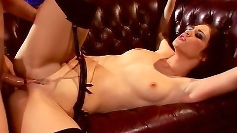 Natural good sized tits Faith Leon spreading her legs for dick penetration