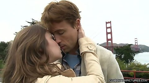 Outdoors by the golden gate bridge kissing with Remy LaCroix