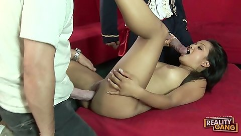 Asian big dick fuck threesome with Lana Violet