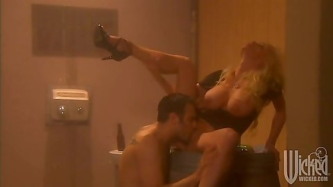 Public toilet sex pussy licking with big tits Stormy Daniels