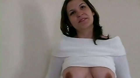 Natural tits Jewel shows nice hanging tits and sucks dick