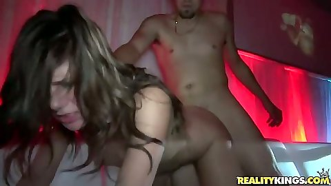 Doggy style skinny Rissa Maxx and Esmi Lee fucked in vip club floor
