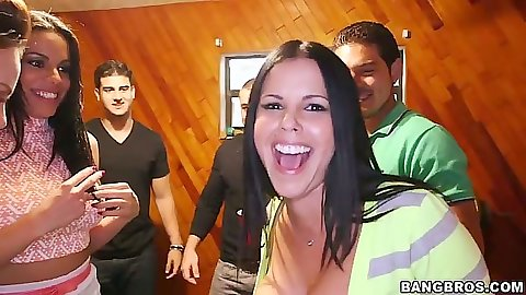 College dorm crash party with Rahyndee and Diamond Kitty and Luna Star sucking and undressing