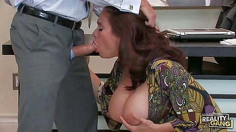 Big tits milf blowjob from Sheila Marie and sex on the desk