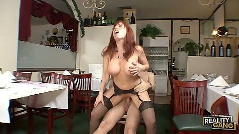 Redhead milf Brittany O reverse cowgirl fucking guy on a chair