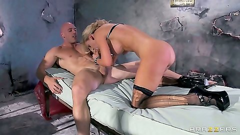 Blonde Cherie Deville blowjob and sex on the bed